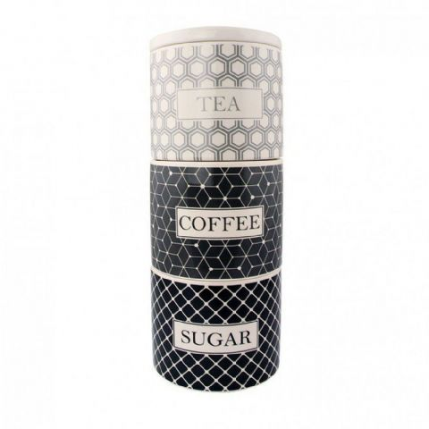 Grey Geometric Stacking Ceramic Tea Coffee & Sugar Canisters